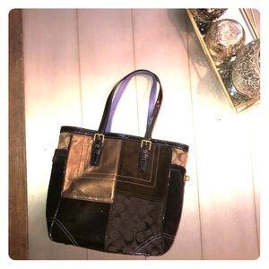 Authentic Coach Suede Bronze & Patent Leather Bag